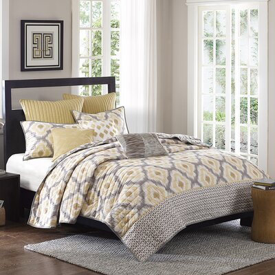 Ankara 3 Piece Coverlet Set Color: Yellow, Size: King