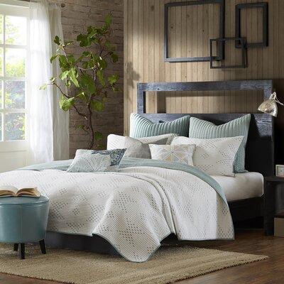 Pacific 140 Thread Count 100% Cotton Quilt Set Size: Full / Queen, Color: Mint Blue