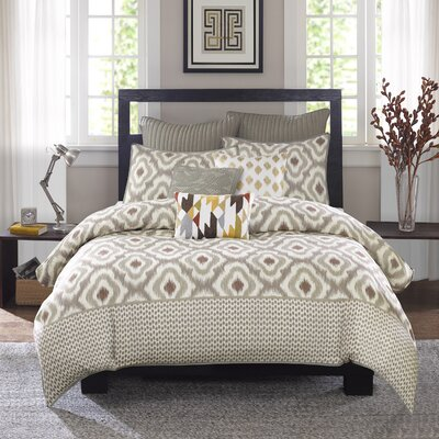 Ankara 3 Piece Reversible Duvet Set Size: Full / Queen, Colour: Natural