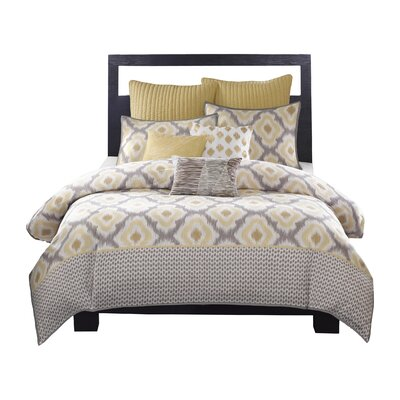 Ankara 3 Piece Reversible Duvet Set Size: King, Colour: Yellow