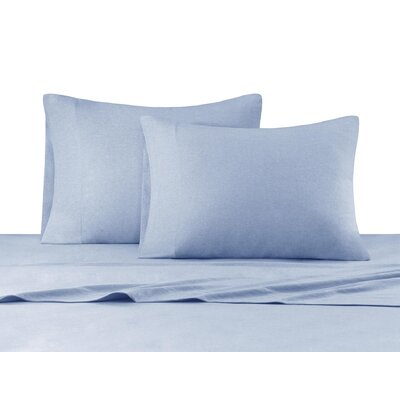 Heathered Cotton Jersey Knit Sheet Set Color: Blue, Size: Queen