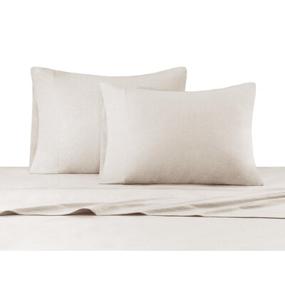 Heathered Cotton Jersey Knit Sheet Set Size: Queen, Color: Natural