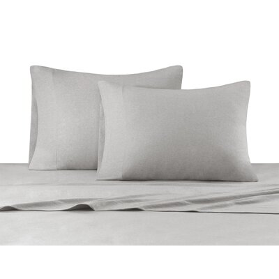 Heathered Cotton Jersey Knit Sheet Set Size: Queen, Color: Gray