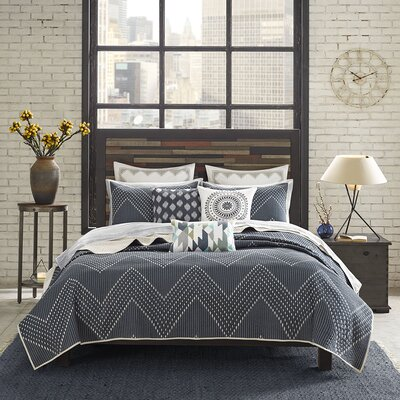 Pomona 3 Piece Coverlet Set Color: Navy, Size: King / California King