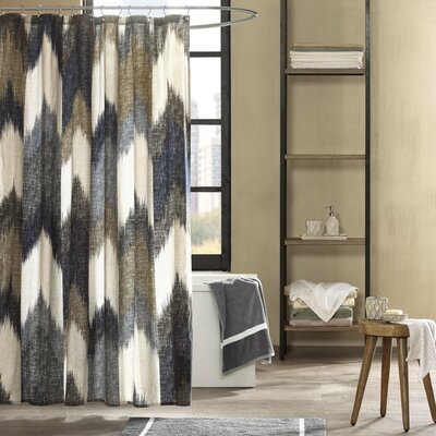 Mcshan Cotton Printed Shower Curtain Color: Blue and Brown