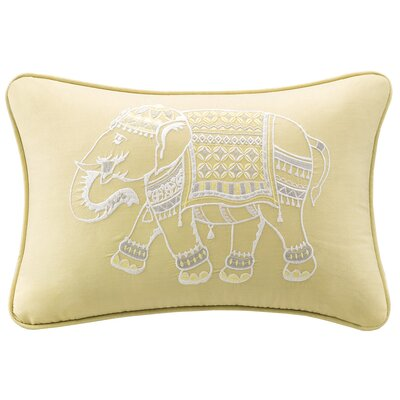 Zahira Embroidered Cotton Lumbar Pillow Color: Yellow