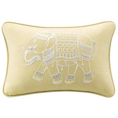 Zahira Embroidered Cotton Lumbar Pillow Color: Yellow