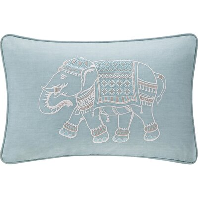 Zahira Embroidered Cotton Lumbar Pillow Color: Blue
