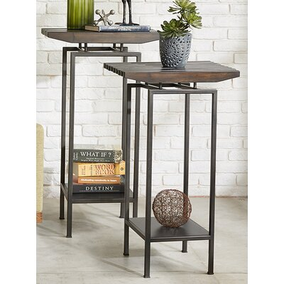 Slat Pedestal End Table