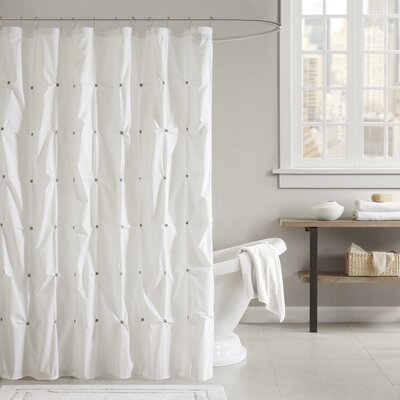 Masie Cotton Shower Curtain Color: White