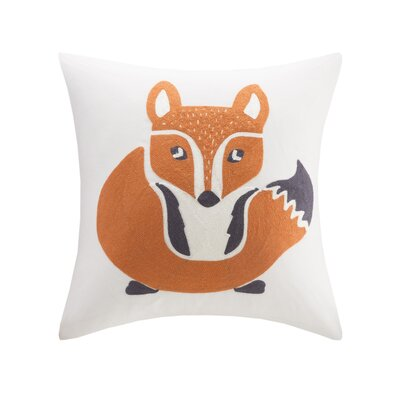Foxy Embroidered Throw Pillow