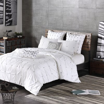 Masie 3 Piece Duvet Cover Set Size: Full / Queen, Color: White