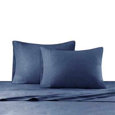 Heathered Cotton Jersey Knit Sheet Set Size: Queen, Color: Navy