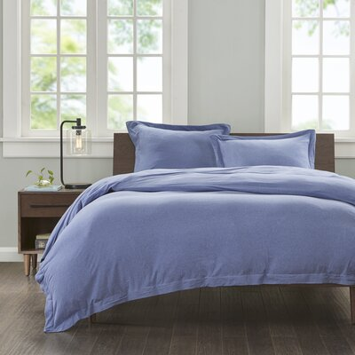 Jersey Duvet Cover Set Size: Full /Queen, Color: Blue