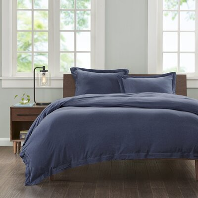 Jersey Duvet Cover Set Size: King, Color: Navy