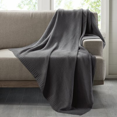 Bree Knit Throw Blanket Color: Charcoal