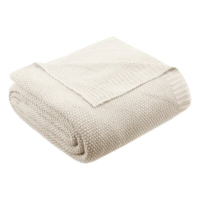 Bree Knit Blanket Size: 90 W x 108 L, Color: Ivory