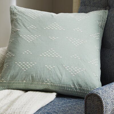 Cario Embroidered Cotton Throw Pillow Color: Blue