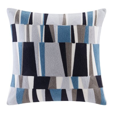 Lars Embroidered Throw Pillow Color: Blue