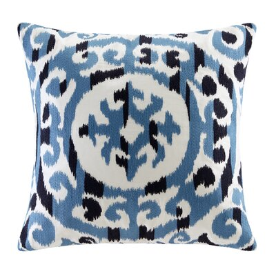 Mead Embroidered Medallion Decorative Pillow Color: Blue