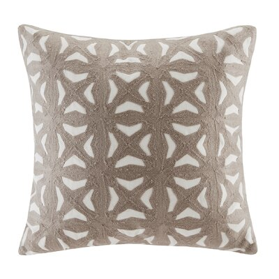 Nova Embroidered Throw Pillow Color: Taupe