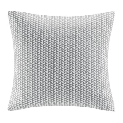 Tait Embroidered Block Throw Pillow Color: Gray