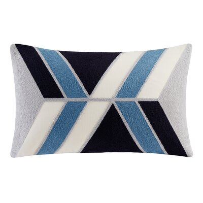 Benefield Embroidered Lumbar Pillow Color: Blue