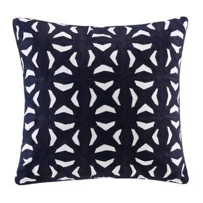 Maddux Embroidered Throw Pillow Color: Navy