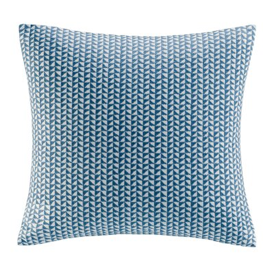 Tait Embroidered Block Throw Pillow Color: Blue