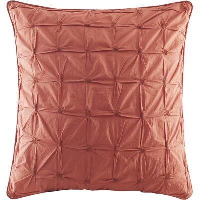 Ellington Embroidered Euro Sham Color: Coral