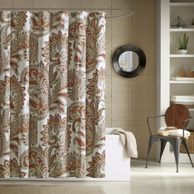 Purcell Cotton Shower Curtain Color: Red