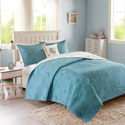 Rosie Coverlet Set Size: Twin, Color: Aqua