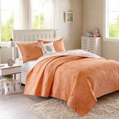 Rosie Coverlet Set Size: Twin, Color: Coral