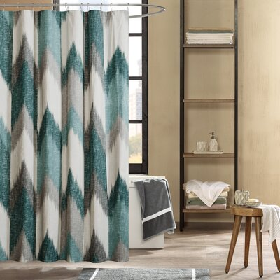 Mcshan Cotton Printed Shower Curtain Color: Aqua