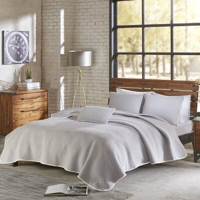 Shelby 3 Piece Coverlet Set Size: Full/Queen, Color: Gray