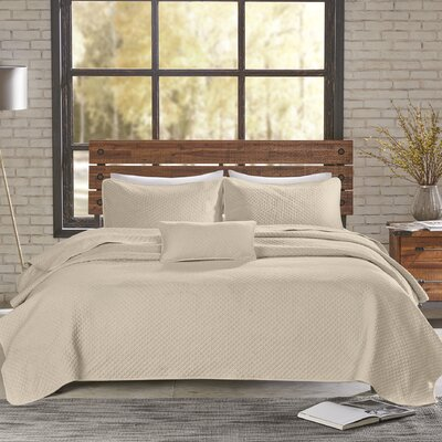 Shelby 3 Piece Coverlet Set Size: King/California King, Color: Natural