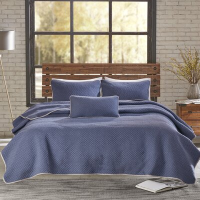 Shelby 3 Piece Coverlet Set Size: King/California King, Color: Navy