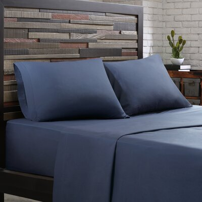 Elfand 300 Thread Count Cotton Sheet Set Size: Twin, Color: Navy