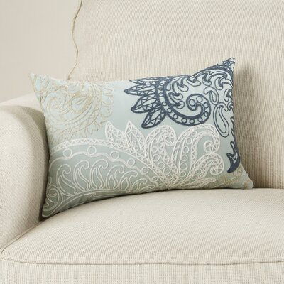 Kiran Embroidered Cotton Lumbar Throw Pillow Color: Blue