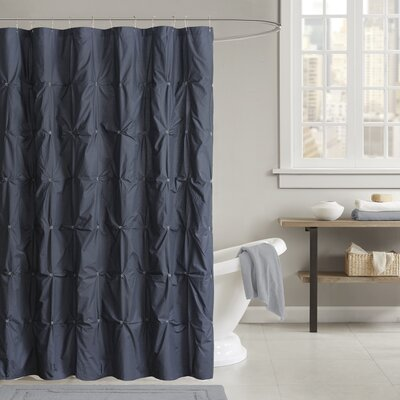 Masie Cotton Shower Curtain Color: Navy