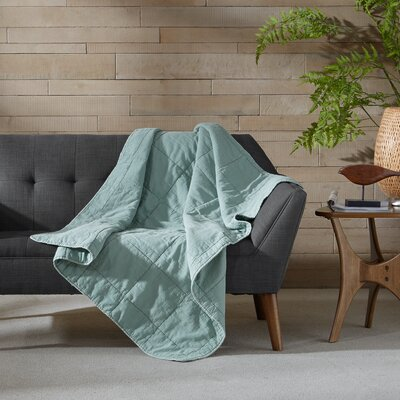 Casper 100% Cotton Quilted Throw Color: Aqua