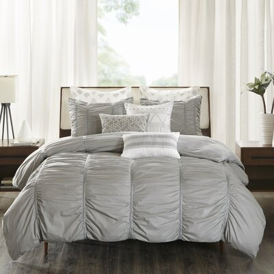 Reese 3 Piece Comforter Set Size: Full/Queen, Color: Gray