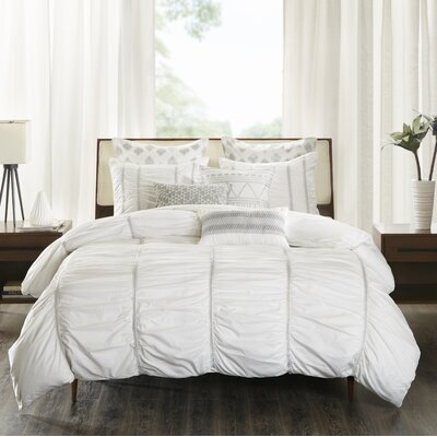 Reese 3 Piece Comforter Set Size: Full/Queen, Color: White