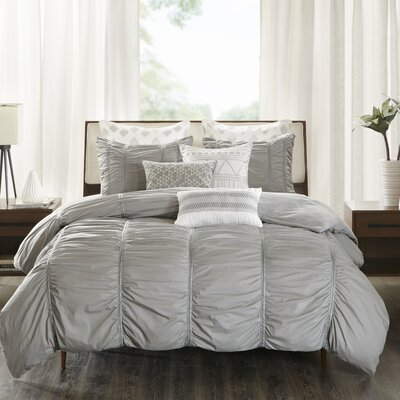 Reese 3 Piece Duvet Cover Set Size: Full/Queen, Color: Gray