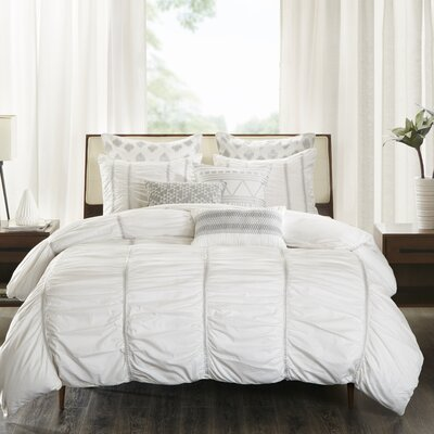 Reese 3 Piece Duvet Cover Set Size: King/Cal King, Color: White
