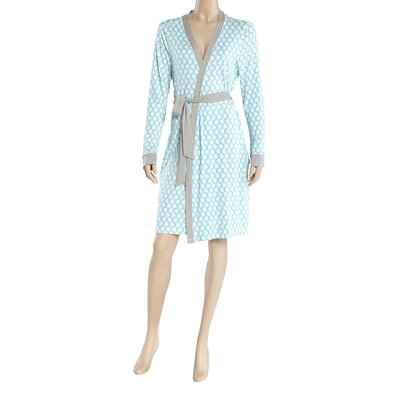 Sidewalk Wrap Bathrobe Size: Small, Color: Blue/White