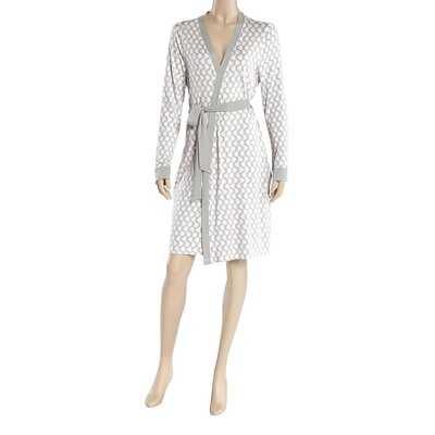 Llanos Wrap Bathrobe Size: Small, Color: Gray/White