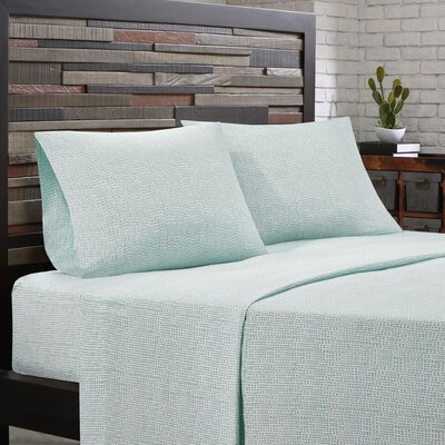 Cora 200 Thread Count Cotton Sheet Set Size: Twin, Color: Aqua