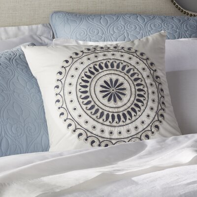 Fleur Embroidered Cotton Throw Pillow