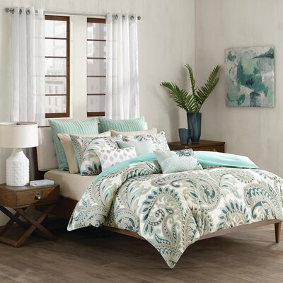 Mira 3 Piece Duvet Cover Set Size: King, Color: Blue